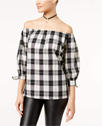Say What Juniors' Plaid Off-The-Shoulder Top