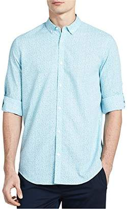 Calvin Klein Men's Long Sleeve Voile Floral Roll-Tab Button Down Shirt