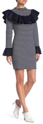 ENGLISH FACTORY Ruffled Striped Knit Dress