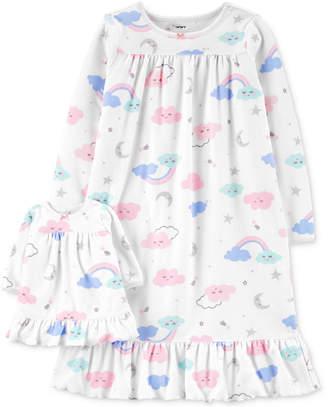 Carter's Carter Little & Big Girls 2-Pc. Cloud-Print Nightgown & Doll Nightgown Set