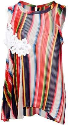 Sacai striped pleated camisole tank top