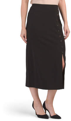 Long Slim Pencil Skirt With Front Slit