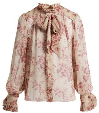Zimmermann Unbridled Floral Print Silk Blouse - Womens - Pink Print