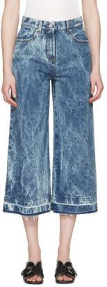 MSGM Blue Marbled Denim Wide-Leg Jeans