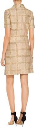 St. John Goldenflag Plaid Knit Short Sleeve Dress
