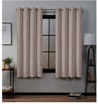 """Exclusive Home Forest Hill Woven Blackout Grommet Top Window 52"""" X 63"""" Curtain Panel Pair"""