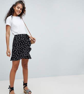 Asos Tall DESIGN Tall mini wrap skirt in polka dot print