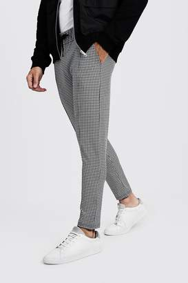 BoohooMAN Houndstooth Pin Tuck Detail Smart Jogger