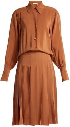 Chloé Pleated silk shirtdress