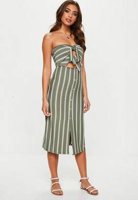 Missguided Khaki Tie Front Stripe Midi Dress