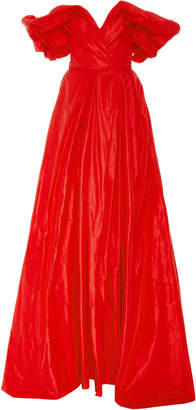 Carolina Herrera Off-The-Shoulder Silk Gown
