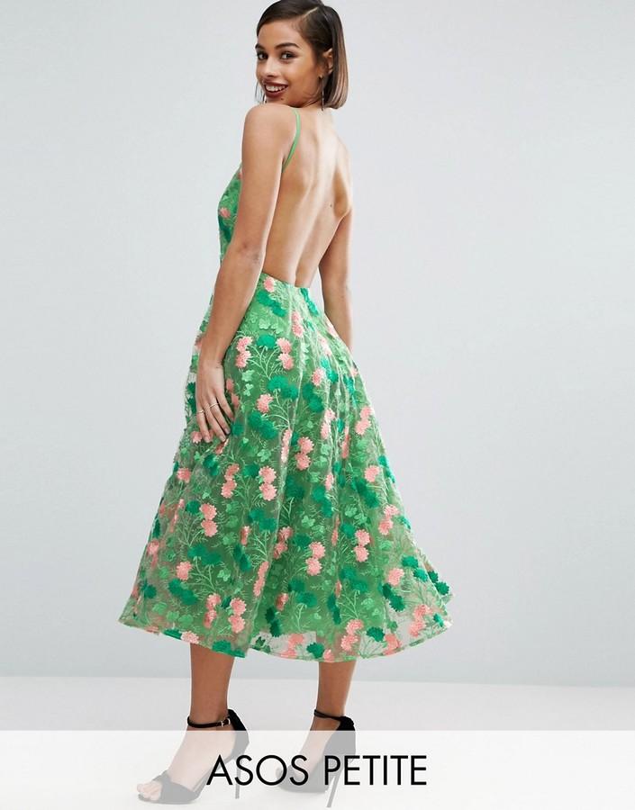 AsosASOS Petite ASOS PETITE SALON Floral Embroidered Backless Pinny Midi Prom Dress
