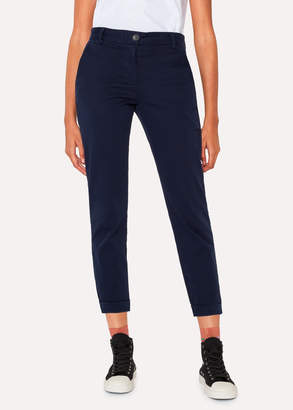 Paul Smith Women's Navy Brushed Cotton-Stretch Chinos