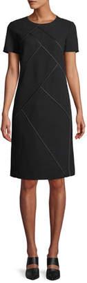 Lafayette 148 New York Henora Short-Sleeve Crewneck A-Line Wool Dress w/ Charmeuse Piping