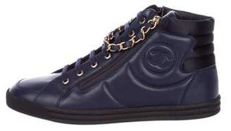 Chanel CC Chain-Link Leather Sneakers