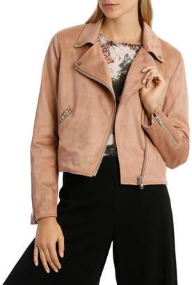 Amber Suedette Zip Detail Crop Jacket