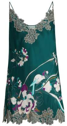 Carine Gilson Lace Trimmed Silk Satin Cami Midi Dress - Womens - Green Print
