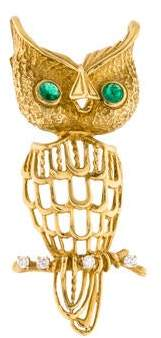 14K Emerald & Diamond Owl Pendant