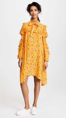 Sjyp Flower Printed Frill Dress