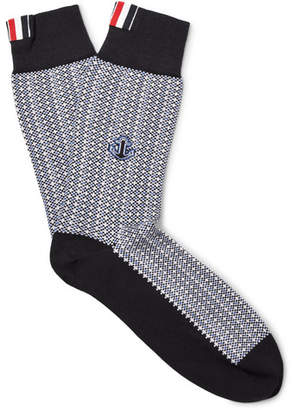 Thom Browne Anchor-Patterned Merino Wool Socks