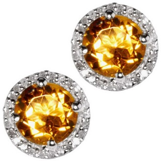 Gemstone & 1/8 ct tw Diamond Sterling Halo StudEarrings
