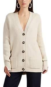 Helmut Lang Women's Distressed Wool Oversized Cardigan - Beige, Tan