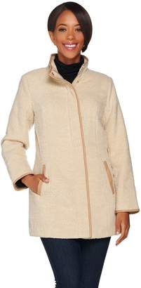 Dennis Basso Tweed Coat with Faux Leather Trim