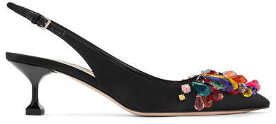 Miu Miu - Crystal-embellished Satin Slingback Pumps - Black