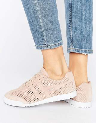 Gola Harrier Blush Pink Perforated Suede Sneakers