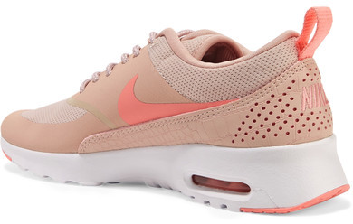 Nike - Air Max Thea Embossed Leather And Mesh Sneakers - Pink 5