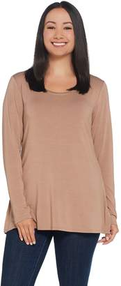 30a0bda42af Halston H By H by Essentials Scoop-Neck Long Sleeve Tunic w/ Side Slits