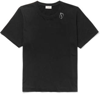 Saint Laurent Printed Cotton-Jersey T-Shirt - Black