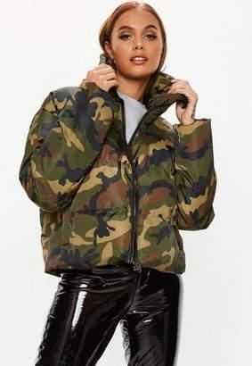 Missguided Khaki Camo Cropped Puffer Jacket