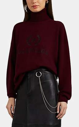 Balenciaga Women's Wool-Cashmere Oversized Turtleneck Sweater - Wine