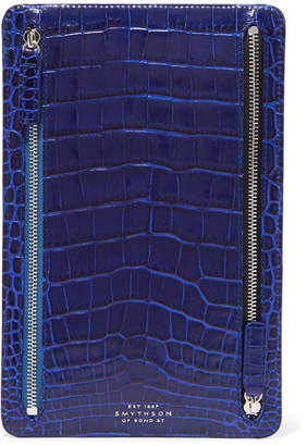 Smythson Mara Croc-effect Leather Wallet - Blue