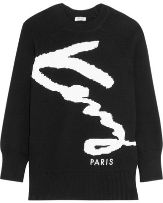 KENZO - Intarsia Cotton-blend Sweater - Black $400 thestylecure.com