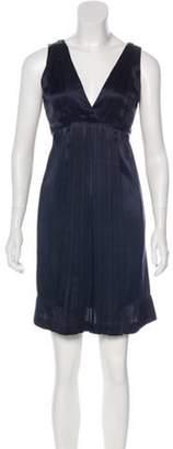 Miu Miu Silk Pleated Dress Navy Silk Pleated Dress