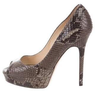 Jimmy Choo Embossed Peep-Toe Pumps