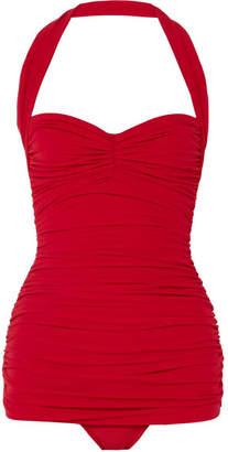 Norma Kamali Bill Mio Ruched Halterneck Swimsuit - Claret