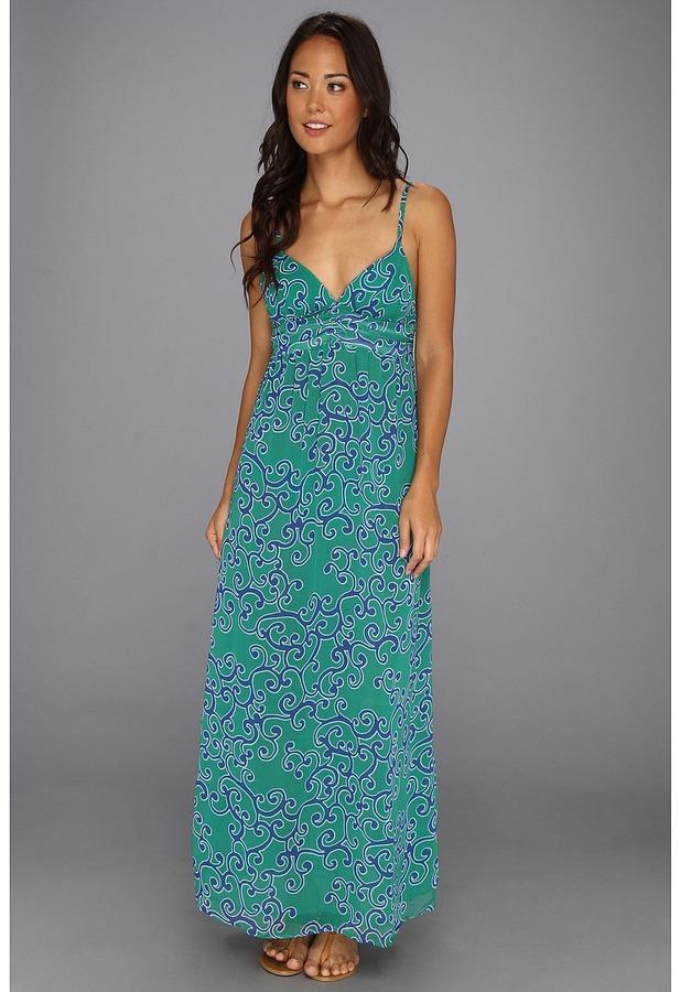Tommy Bahama Ocean Swirl Long Maxi Dress Cover-Up (Parakeet Green/Surf Blue) - Apparel