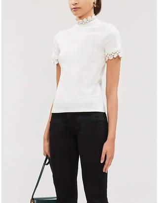 Sandro Crochet-trim stretch-jersey T-shirt