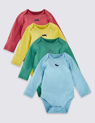Marks and Spencer 4 Pack Pure Cotton Bodysuits