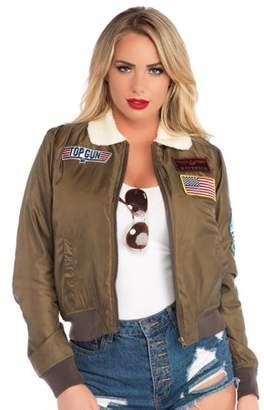 Leg Avenue Women's Top Gun Licensed Bomber Jacket, Khaki, Medium