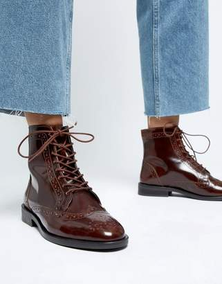 2266a4e3cf4 Asos Design DESIGN Aliance leather lace up brogue boots