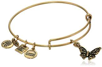 """Alex and Ani Charity by Design"""" Rafaelian Gold-Tone Expandable Wire Bangle Bracelet with Butterfly Charm"""