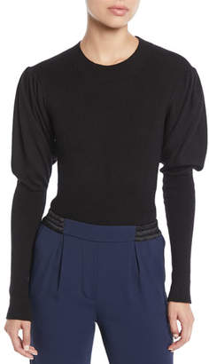 Jonathan Simkhai Puff-Sleeve Cashmere Bodysuit