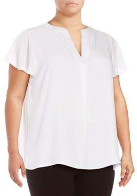 Calvin Klein Plus Solid Flutter-Sleeve Top