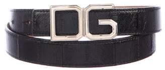 Dolce & Gabbana Eel Skin Logo Belt