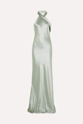 Galvan Pandora Silk-satin Halterneck Gown - Mint
