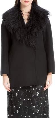 Max Studio Double-weave Wool Coat With Fur Collar